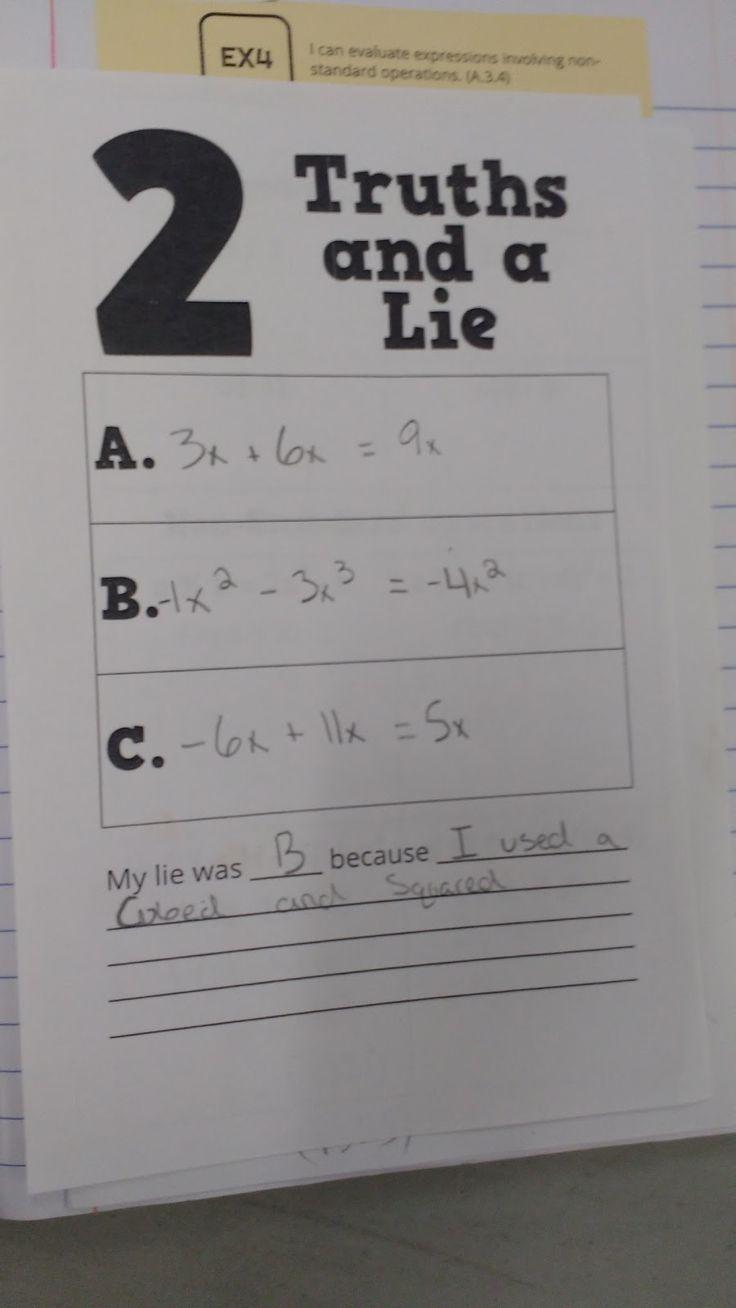 2 Truths and a Lie I love this idea for math! High