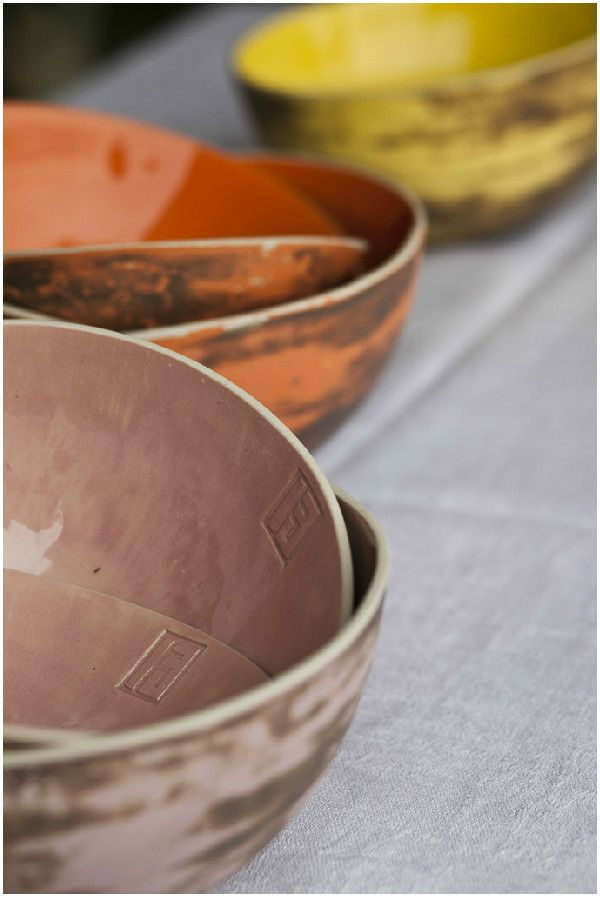 A stunning handmade porcelain collection of Bowls , perfect for spring gathering. #handmade #spring #bowls #colours http://www.dishesonly.com/products/tribu-handmade-porcelain-bowls