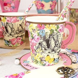 Whimsical Alice in Wonderland tea party cups      #aliceinwonderland #teaparty #madhatter #trulyalice #party #kidsparty #partyware #partysupplies #cups #partydecor #rubyrabbit #rubyrabbitparty