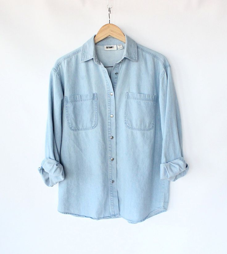 Vintage 80s light blue jean button up shirt women 39 s for Blue denim shirt for womens