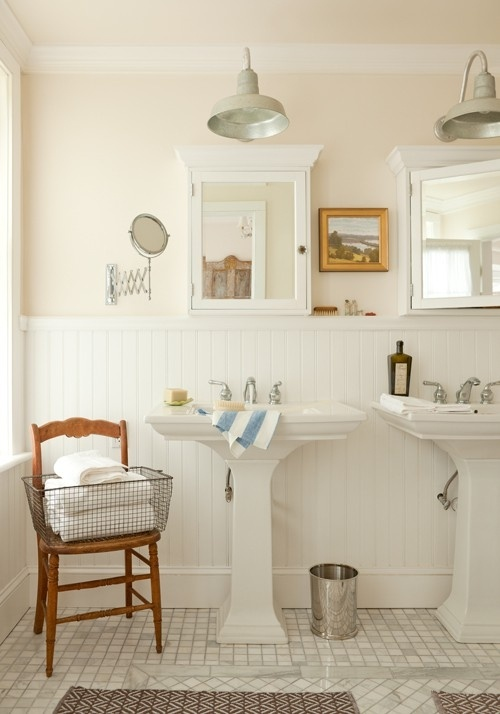 Edwardian bathroom fittings with wood panelling, junk store cupboards and zinc lamps