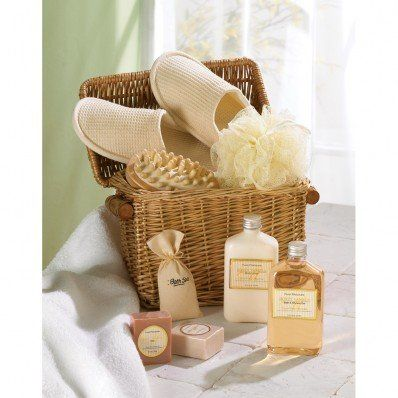Spa-In-A-Gift+Basket. Spoil yourself! Cute wicker chest contains bath items in a relaxing Honey Vanilla scent, comfy slippers and a massage tool.
