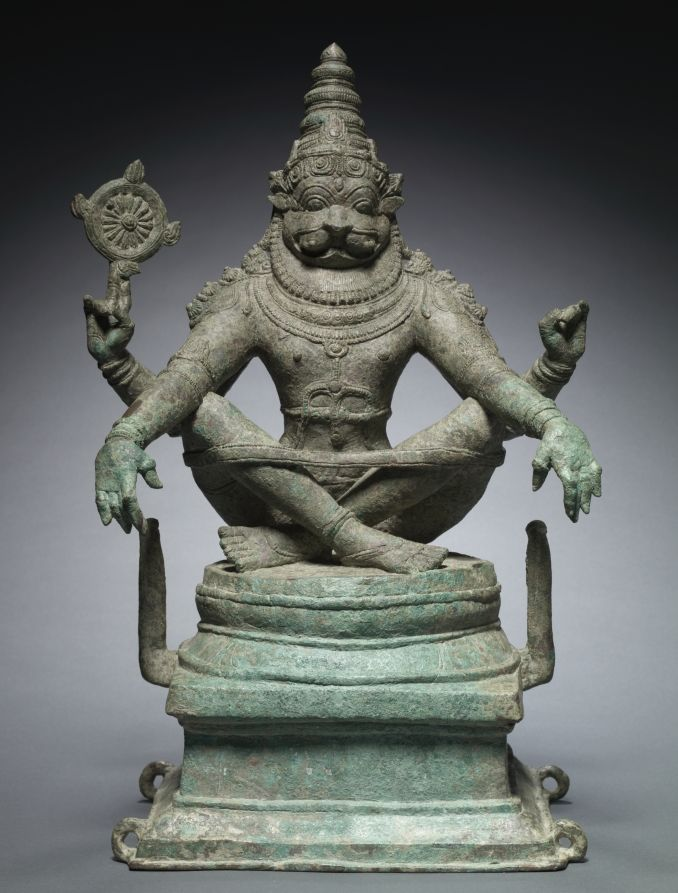 Yoga Narashimha, Vishnu in his Man-Lion Avatar. c.1250.South India. Seated with a yoga band around his knees to aid his meditative posture, this powerful image depicts Vishnu as Narasimha (man-lion avatar). He would have held the typical discus and conch shell in his two rear hands. Vishnu is believed to have taken the avatar to destroy the demon king Hiranyakashipu.