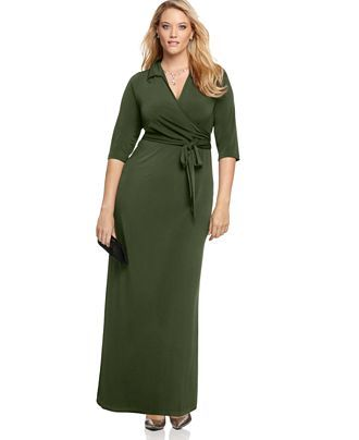NY Collection Plus Size Faux-Wrap Maxi Dress - - Plus Sizes - Macy's also royal blue & black