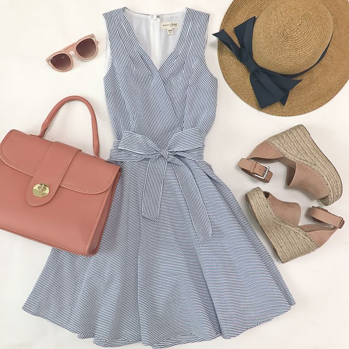 seersucker fit and flare dress, top handle pebbled leather pink rose satchel, packable navy bow hat, marc fisher blush wedge sandals, pink sunglasses, spring outfit, summer dress, petite fashion blog - click the photo for outfit details!