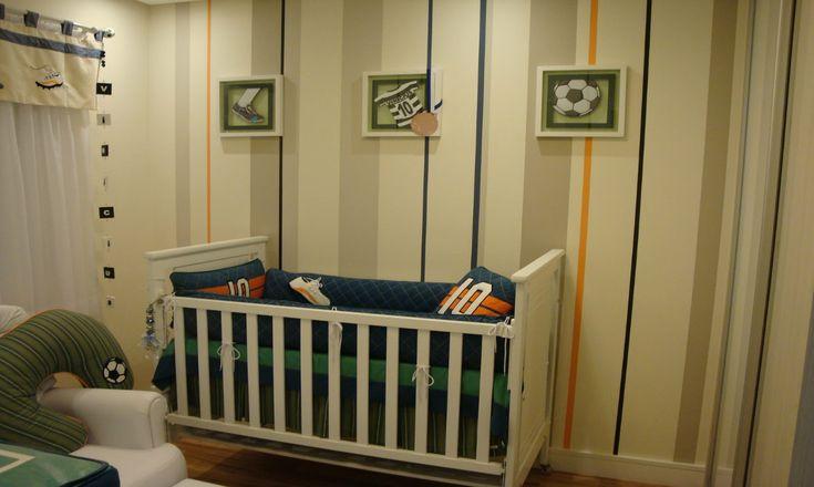 Kit Berço com o tema Futebol, Basquete e outras modalidades esportivas dão o tom aquele que será o cômodo mais querido da casa.