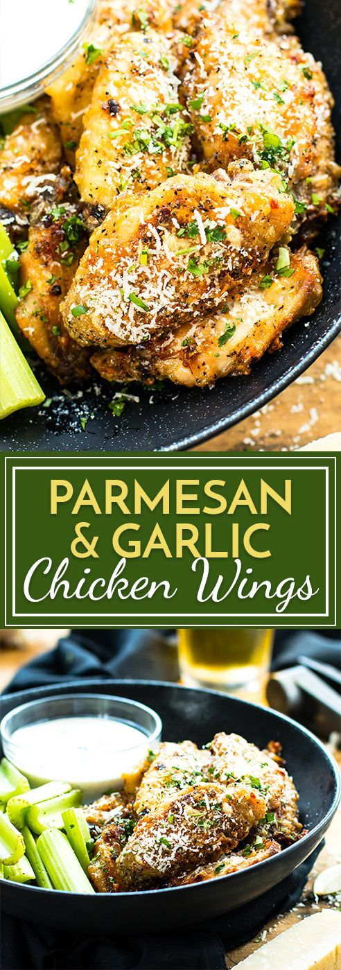 Amazing! 375 15 min broil 6m  Parmesan & Garlic Baked Chicken Wings | Baked Chicken Wings are tossed in a parmesan and garlic sauce and then baked in the oven. These wings are super crispy and finger lickin' good!! A perfect appetizer for parties, tailgating or the Super Bowl.