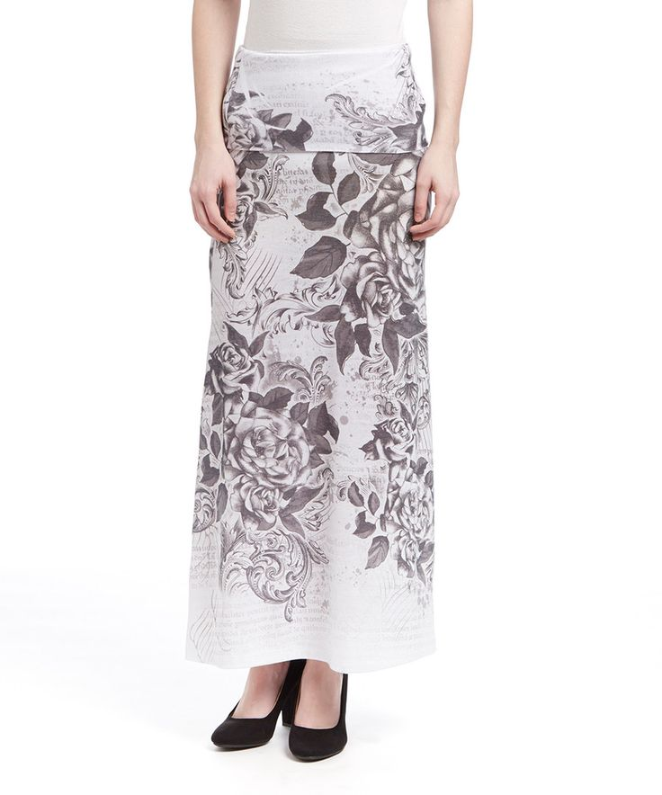 Look at this Casa Lee White Floral Fold-Over Maxi Skirt on #zulily today!