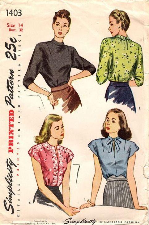 "Simplicity 1403. 1948 Blouses. Bust 32"". Original. Complete."