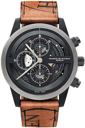 Maurice De Mauriac - Chronograph Modern  Manufacture all black calibre refined stainless steel DLC black | Ø 45 mm screw crown, screw pusher | open case back fine serrated Lunette sapphire crystal with anti-reflective treatment on both sides | horween leather strap