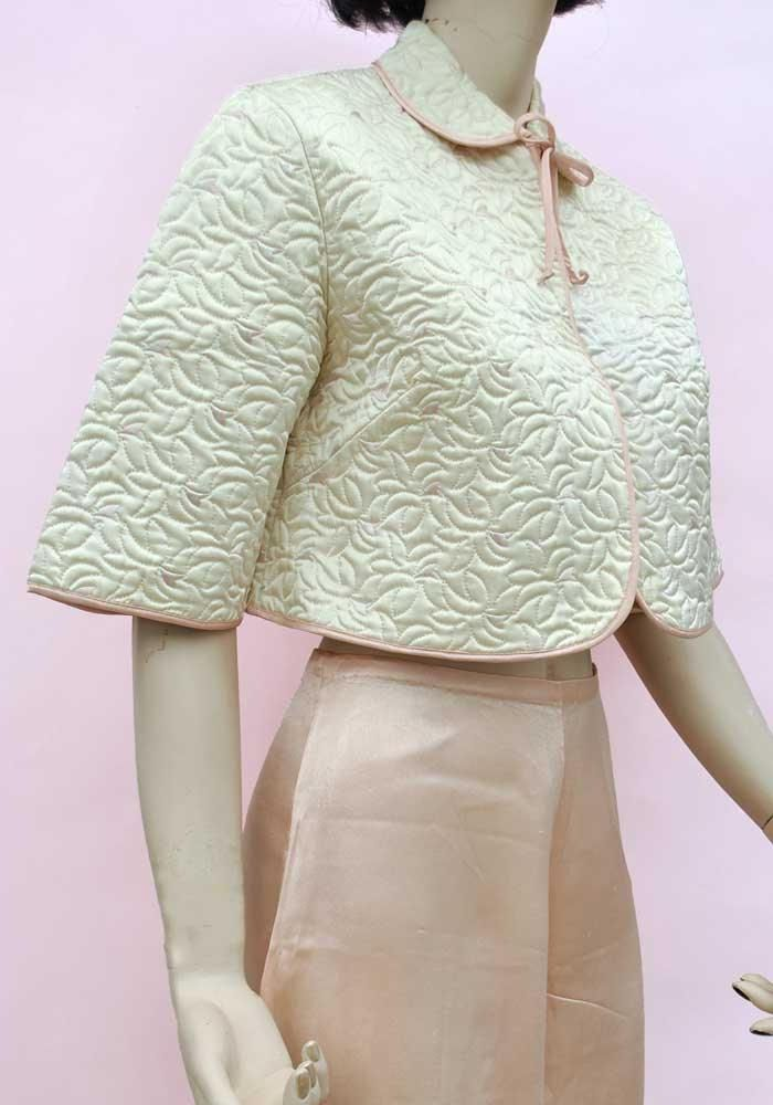 1950s Vintage Satin Rayon Quilted Bed Jacket Boudoir Robe