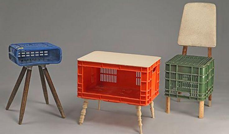 素材ミックスすることでより、存在感が高まります。出典元:http://www.ecofriend.com/diy-collection-milk-crates-make-a-…