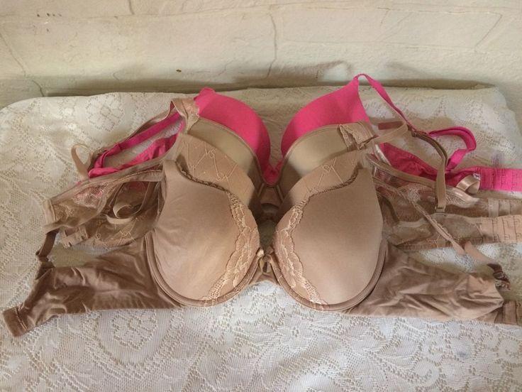 Victoria's Secret Lot of 4 Padded Underwire Bras Nude Neon Pink Size 34D #VictoriasSecret #PushUpBras
