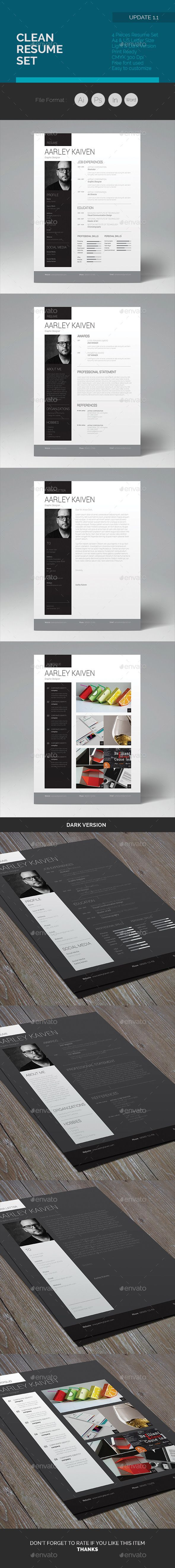 2 Resume designs, 1 Cover Letter & 1 Portfolio page. Available here : http://graphicriver.net/item/clean-resume-set/7565186?ref=pxcr