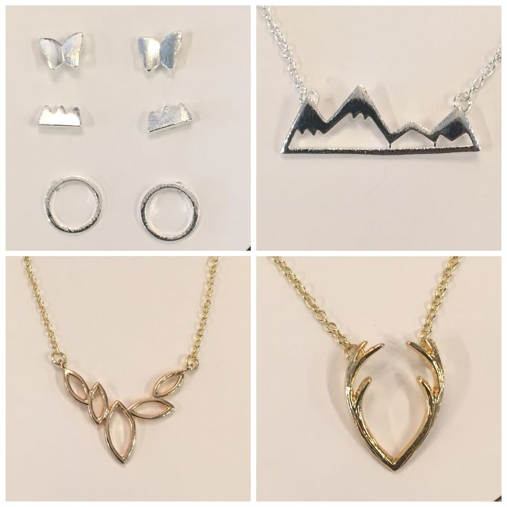 Mountain necklaces and earrings.  Antler necklaces and earrings.  Other minimalist geometric jewellery. https://www.facebook.com/kleeboutique/