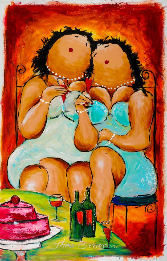 Het bewijs dat dikke dames niet alleen door vrouwen, maar ook door mannen worden geschilderd. Hier een dikke dames schilderij van een van de bekendste kunstenaars die dikke dames schilderen; Theo Broeren.