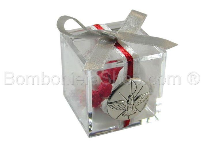 Cubo in plexiglass con applicazione colomba cresima in argento
