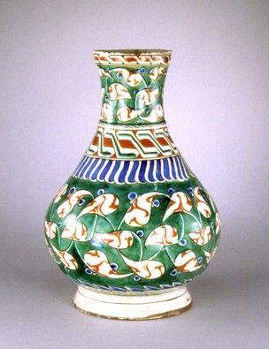 Turkey. Probably Iznik c.1570-80 Vase. Made of underglaze pottery. 12in. high