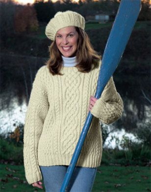 Knitted Aran Sweater in Lion Brand Fishermen's Wool - 1101A. Discover more…