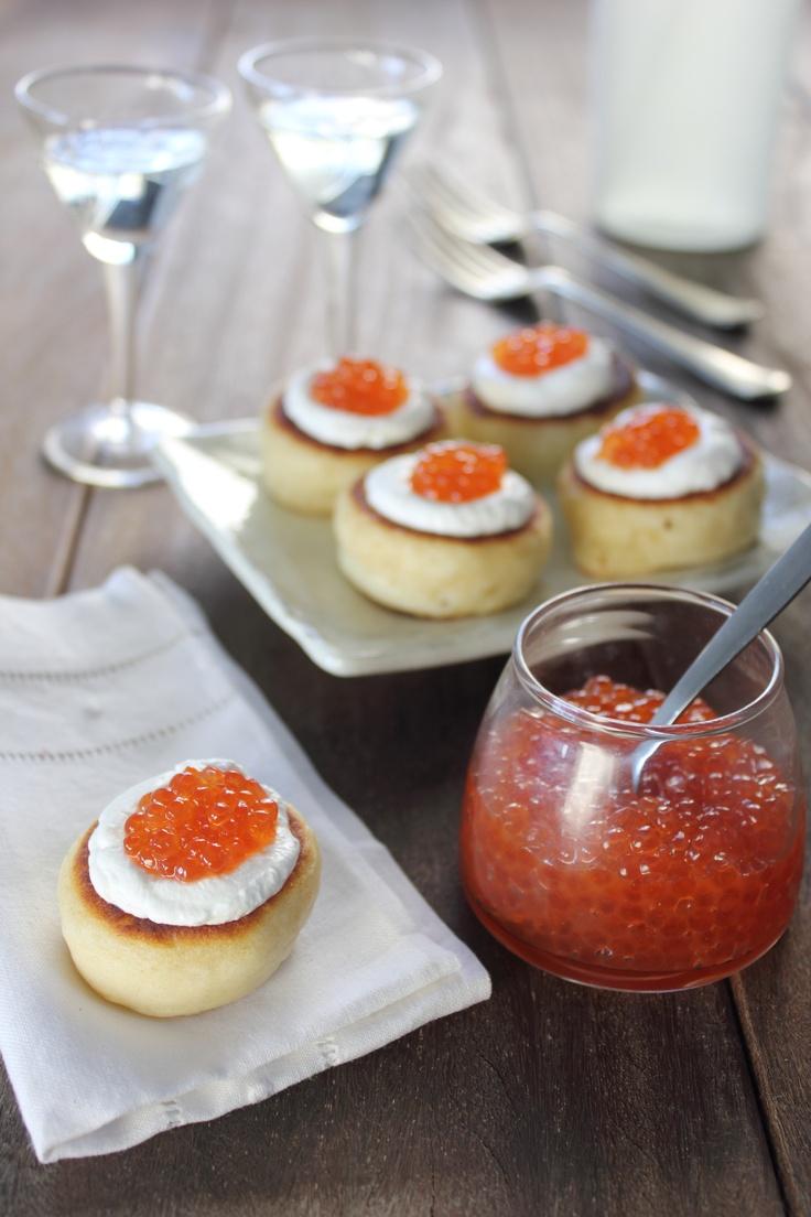 blinis with salmon caviar | blinis | Pinterest