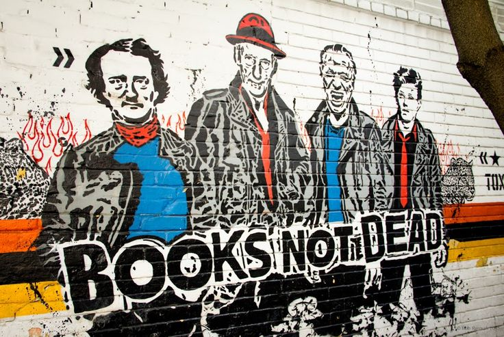 Probably my favorite discovery from the past week here in Bogota: the intrepid quartet of Edgar Allan Poe, William Burroughs, Charles Bukowski and Arthur Rimbaud on this piece by the Toxicomano collective.  If you like the image and want to pin one to your home library wall, you can download a high resolution version here: http://www.pirancafe.com/2015/08/06/books-not-dead/