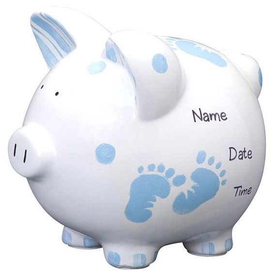 Personalized Large Piggy Bank Blue Baby Boy Feet-Newborns ,Baby Shower, Christening Gift Centerpiece