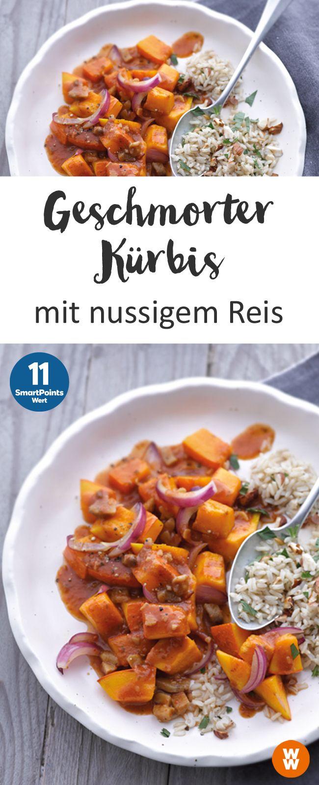 Geschmorten Kürbis mit nussigem Reis | 2 Portionen, 11 SmartPoints/Portion, Weight Watchers, fertig in 40 min.