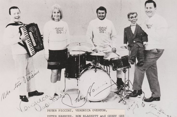 06: Channel Niner's Club: L to R) Peter Piccini, Veronica Overton, Peter Harries, Ron Blaskett and his dummy Gerry Gee, 1960's.   http://encore.slwa.wa.gov.au/iii/encore/record/C__Rb3654849__Schannel%20niners__Orightresult__U__X3?lang=eng&suite=def