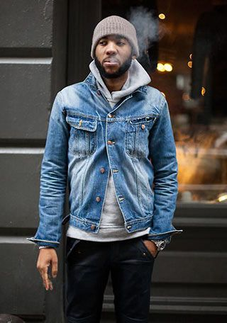 Denim Jacket x hoodie x Knit Cap , Mens Denim Jacket OutfitDenim