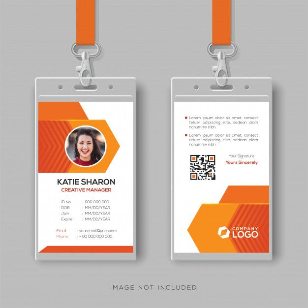 Abstract Orange Id Card Design Template Id Card Template Card Design Visiting Card Design