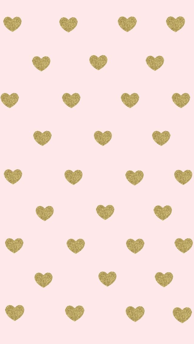 Blush pink gold hearts iphone phone wallpaper background lock screen