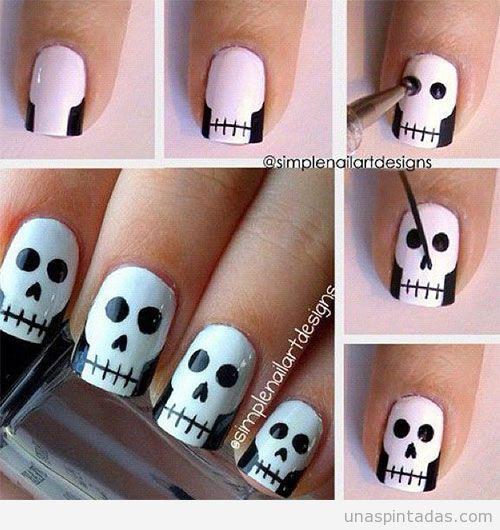 Resultado de imagen para uñas decoradas para halloween faciles paso a paso