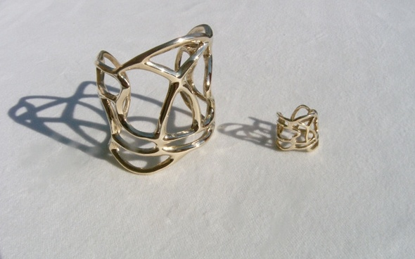 Lines collection , brass bracelet & ring!