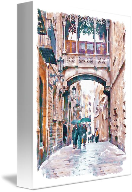 """""""Carrer+del+Bisbe++Barcelona""""+by+Marian+Voicu,+Bucharest+//+Watercolor+painting+of+Carrer+del+Bisbe,+Barri+Gotic.+The+Gothic+Quarter+is+the+centre+of+the+old+city+of+Barcelona.+It+stretches+from+La+Rambla+to+Via+Laietana,+and+from+the+Mediterranean+seafront+to+Ronda+de+Sant+Pere.+It+is+a+part+of+Ciutat+Vella+district.+//+Imagekind.com+--+Buy+stunning+fine+art+prints,+framed+prints+and+canvas+prints+directly+from+independent+working+artists+and+photographers."""