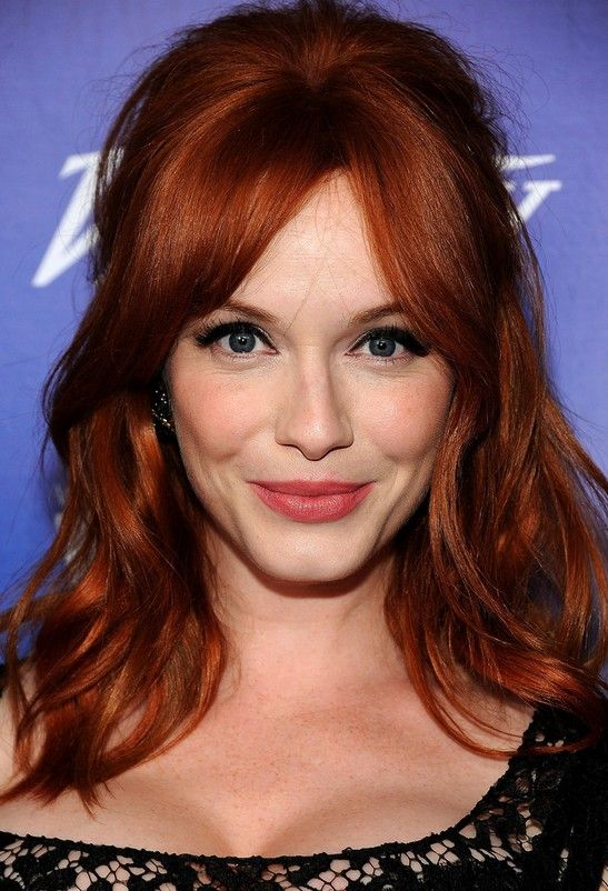 Christina Hendricks Red Half Up Half Down Hairstyle for Thick Hair