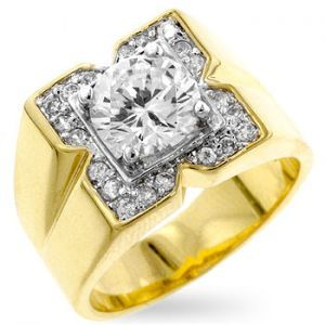 Men's Square 14K Yellow Gold Bonded 2.75ct Simulated Diamond Ring