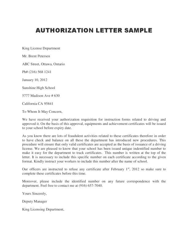 consent letter format for vat registration sample authorization - authorization letters sample
