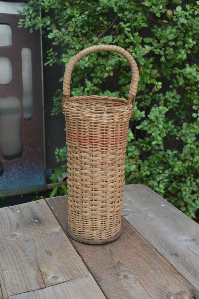 How To Weave A Cane Basket : Vintage wicker cane basket wine woven carrier
