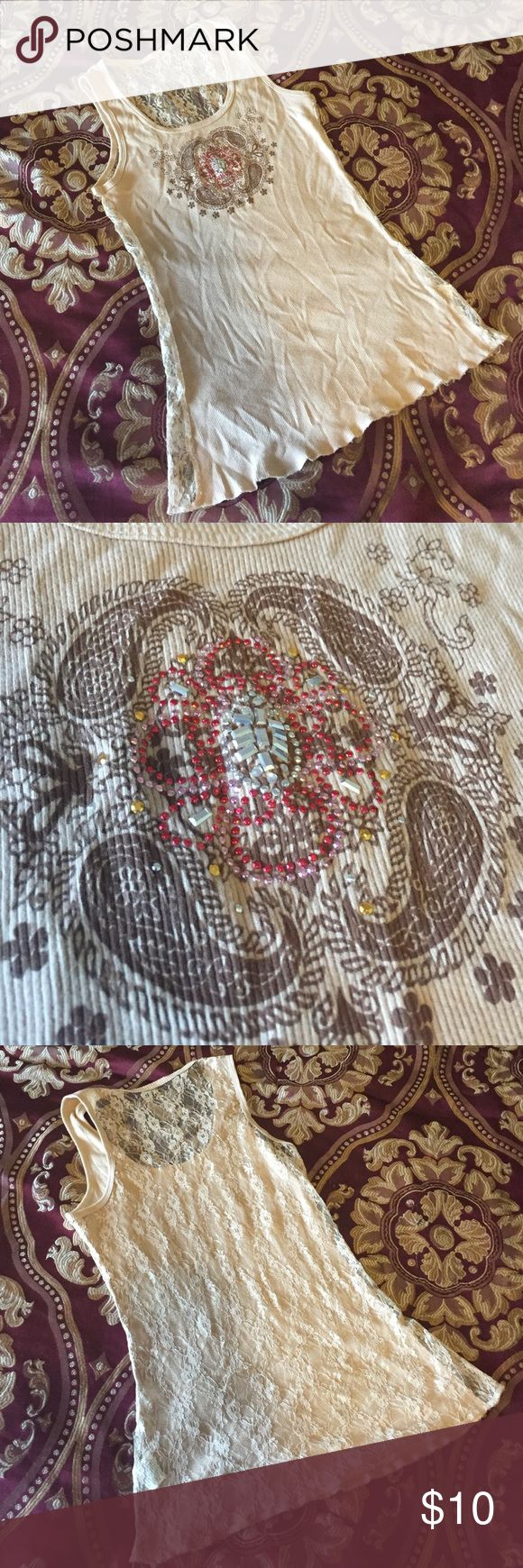 Lace back embellished jewel tan and red tank Good used condition bundle and save!! Tops Tank Tops