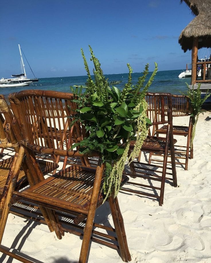 CBD237 wedding riviera Maya greenery , ferns and leaves corsages for aisle/ corsage de follajes para Camino ceremonia