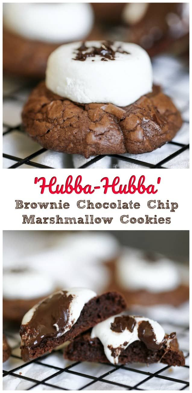 'Hubba-Hubba' Brownie Chocolate Chip Marshmallow Cookies - Loaded with gooey marshmallow, an abundance of chocolate chips and thick, rich brownie cookies, makes these heavenly delights so chewy, moist and absolutely delicious. #cookies #cocoa #marshmallow #holidays #chocolate chip