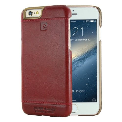 PIERRE CARDIN for iPhone 6s Plus / 6 Plus Genuine Leather Skin Hard Case Protector - Red