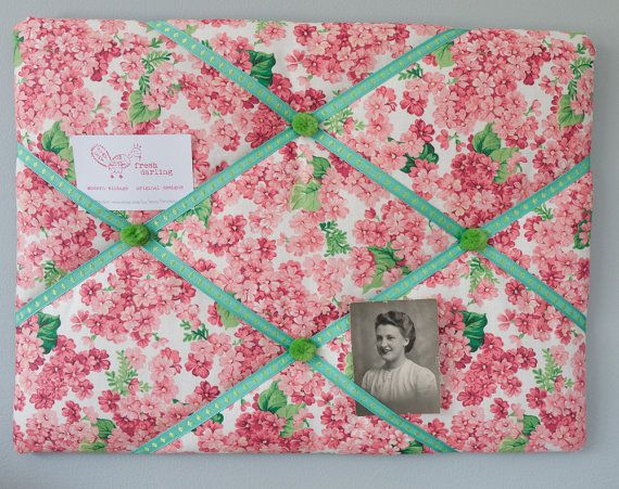 Handmade pink and green floral fabric memo board/bulletin board/memory board/business card holder