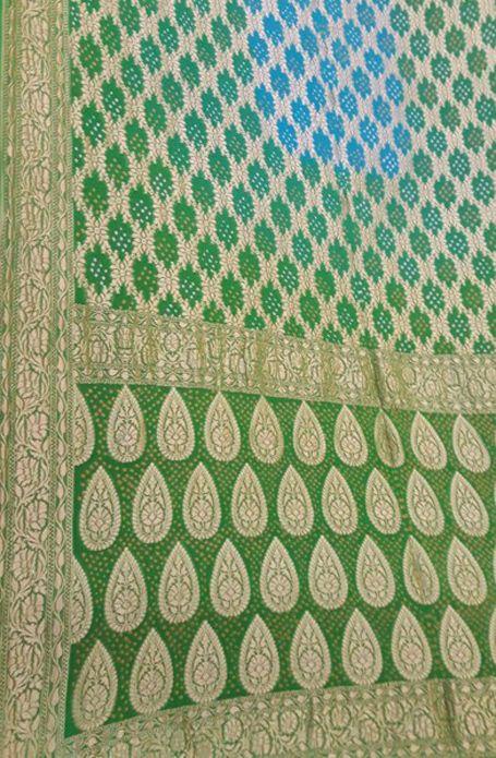 Green Handloom Banarasi Bandhani Neem Zari Georgette Saree