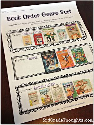 Use those extra book order forms to recognize and classify genres. Great activity to leave for a sub, as well!