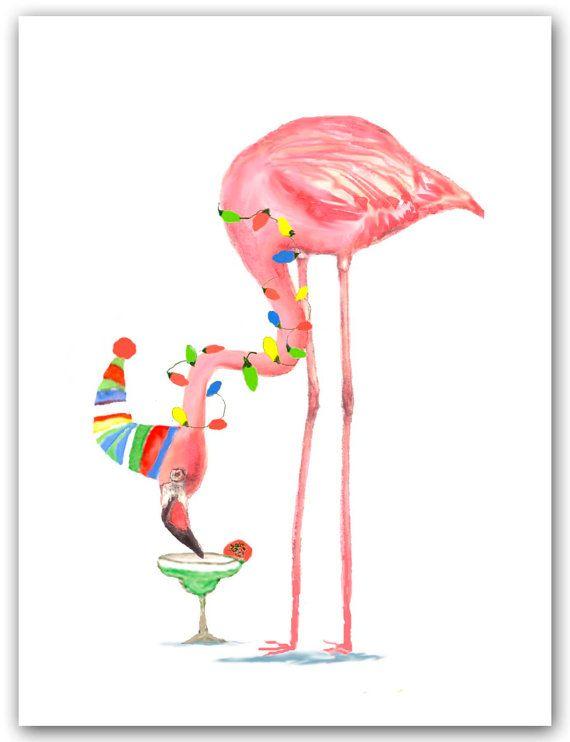 Flamingo cartes de Noël, carte de Cocktail, Margarita, Tropical de Noël, cartes de Noël roses flamants, drôles. carte de vacances placée.