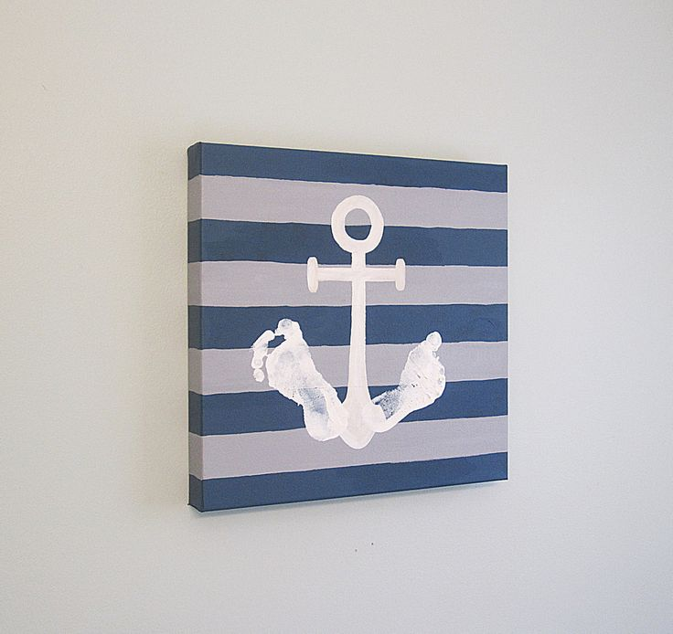 "Nautical Anchor Footprint Canvas Art with Print Kit, Stripe, 12x12"", by SnowFlowerArts, Any Color"