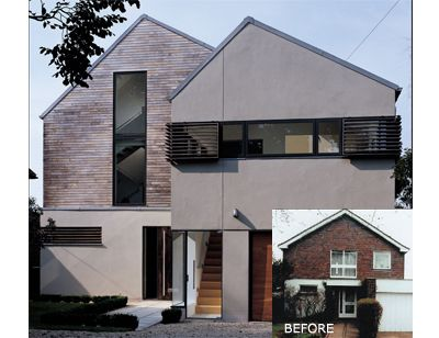 Like combination of timber cladding with render and dark for 70s house exterior makeover