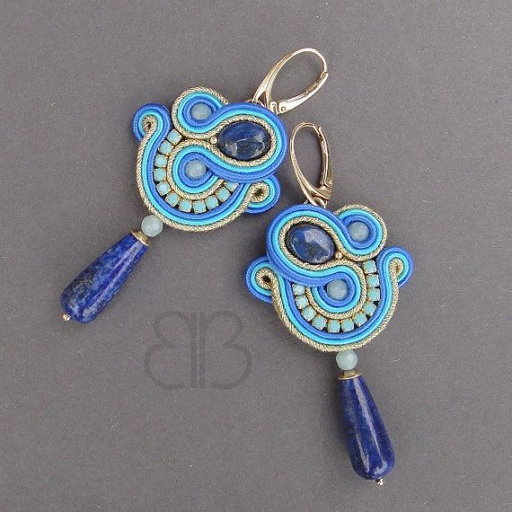 Vicenza soutache earrings with lapis lazuli by BlueButterflybizu