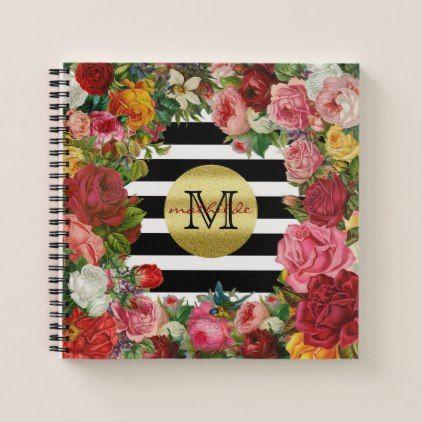 Trendy Monogram Stripes Roses Flowers Gold Glitter Notebook - gold gifts golden diy custom